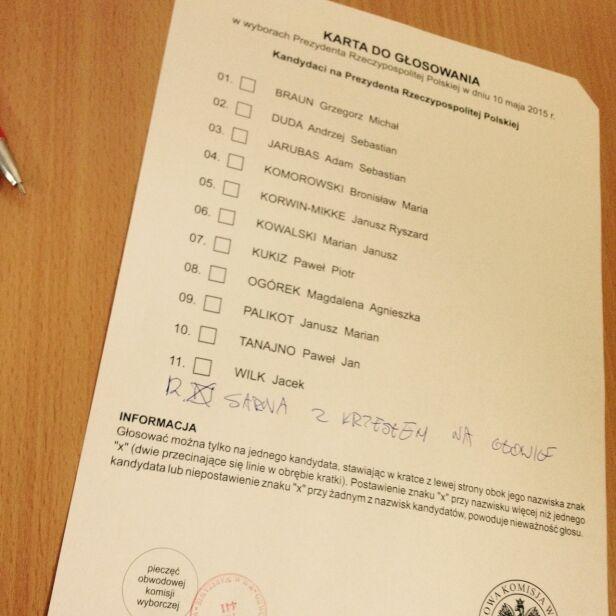 Karta wyborcza na zdjęciu internauty lukaszuka / warszawa@tvn.pl