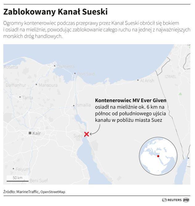 Zablokowany Kanał Sueski (PAP/Adam Ziemienowicz)