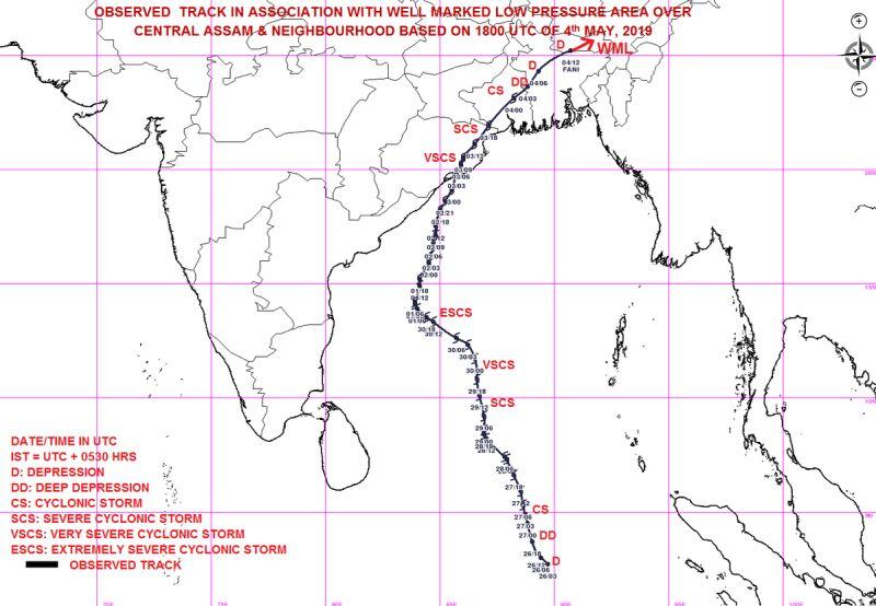 Trasa przejścia cyklonu Fani (India Meteorological Department)